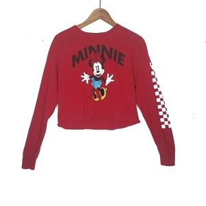 Disney Minnie Mouse Checkered Long Sleeve Crop Top